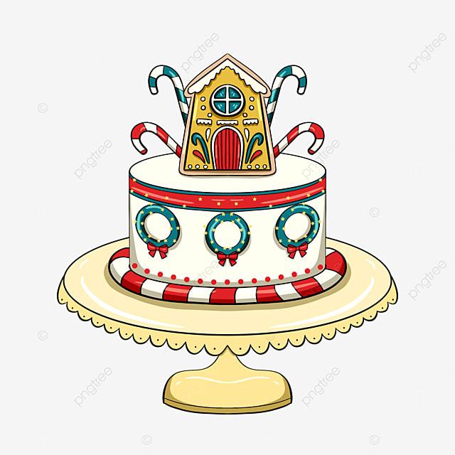 cartoon style christmas holiday cake