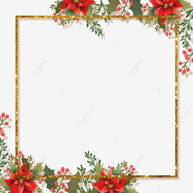 christmas poinsettia christmas flower golden shiny square border