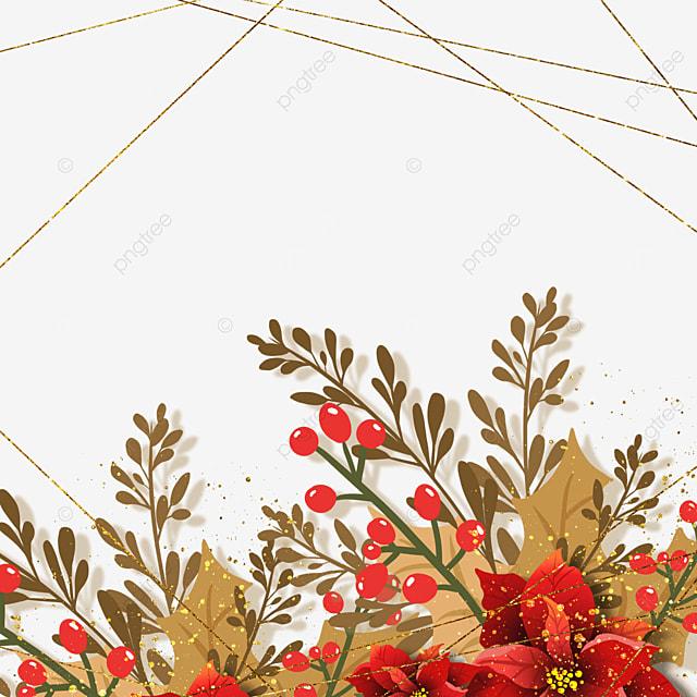 gold line christmas poinsettia christmas flower border
