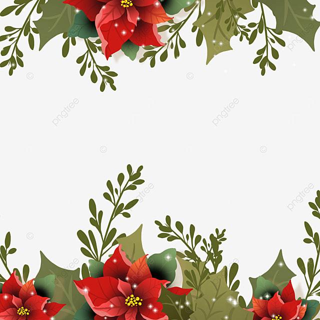 realistic effect christmas poinsettia christmas flower border