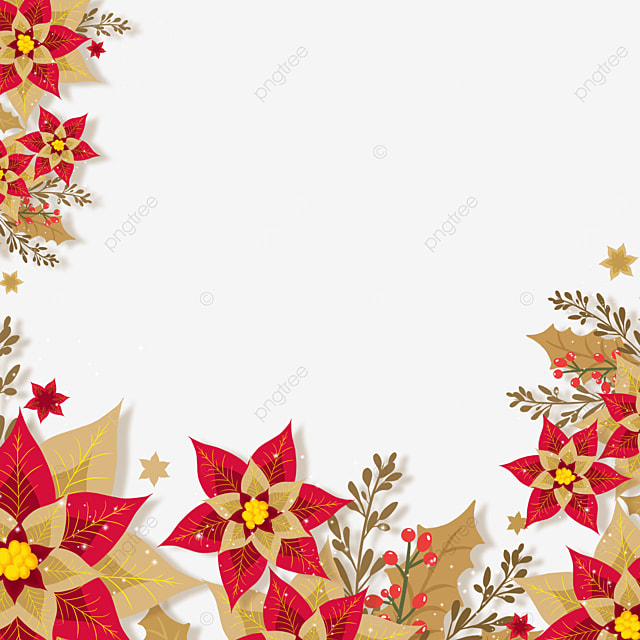 red and brown christmas poinsettia paper cut style christmas flower border