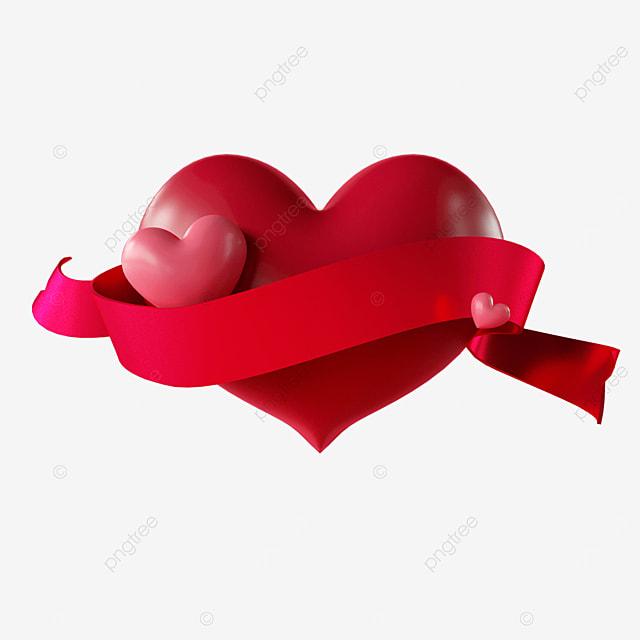 three dimensional valentines day love ribbon
