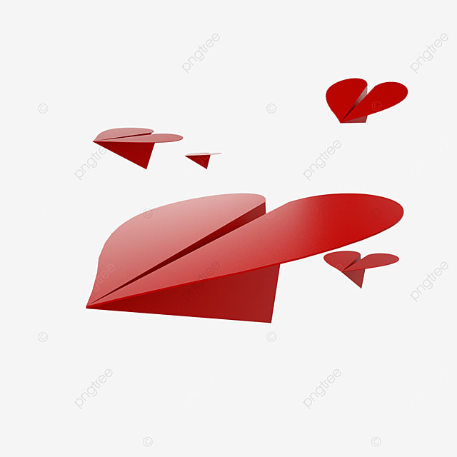 valentines day love paper airplane