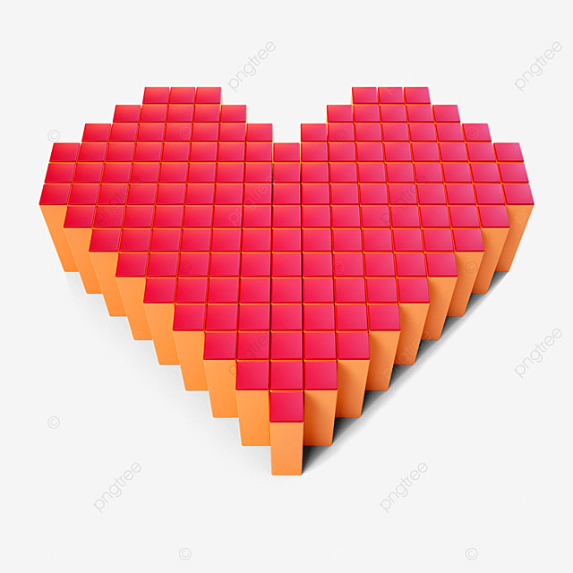 valentines day three dimensional square heart