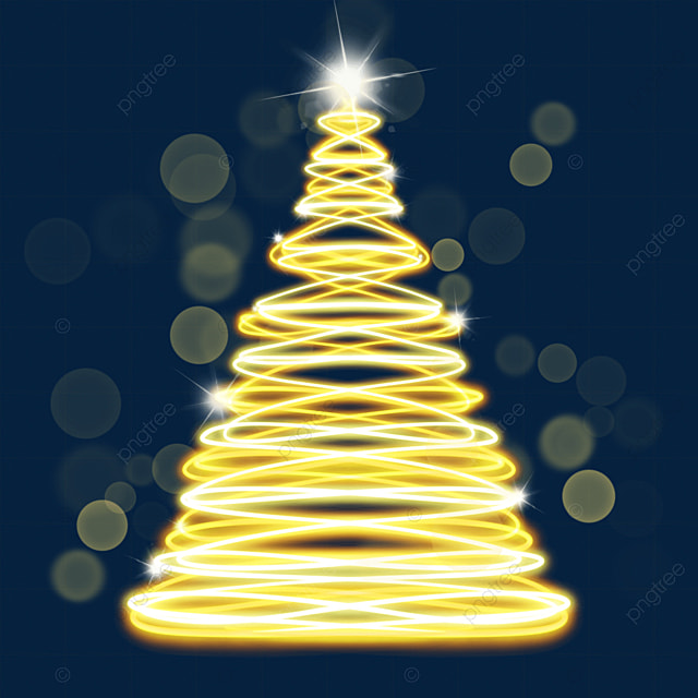 yellow glowing holiday light effect christmas tree
