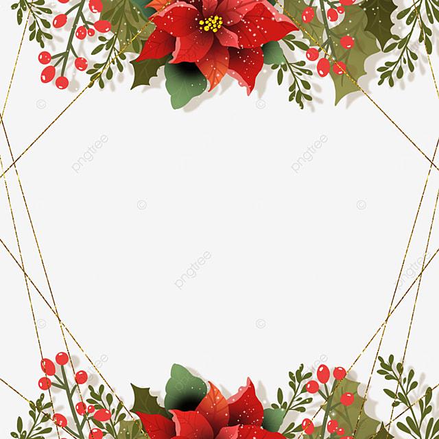 brown red christmas flower christmas poinsettia polygonal gold line border