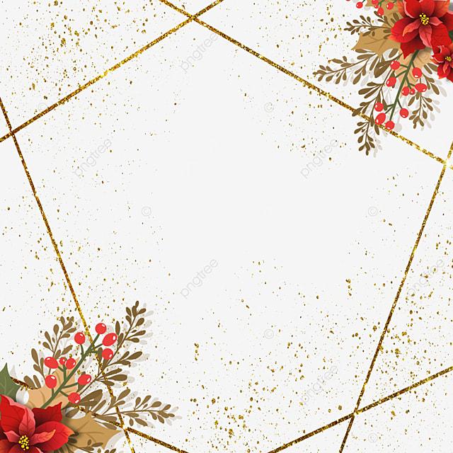 christmas poinsettia brown red christmas flower polygonal gold line border