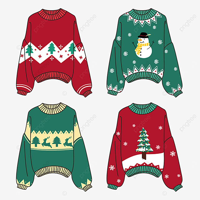 christmas red and green sweater clipart