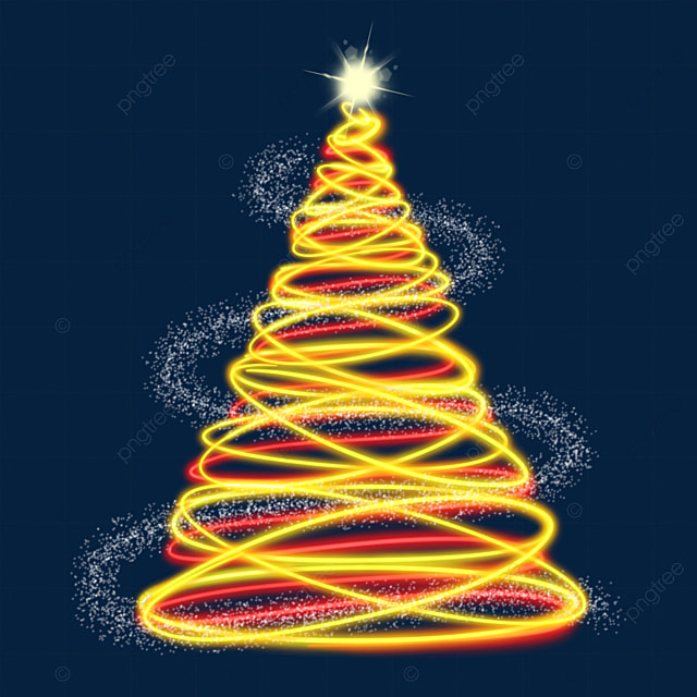 yellow red festive light effect christmas tree