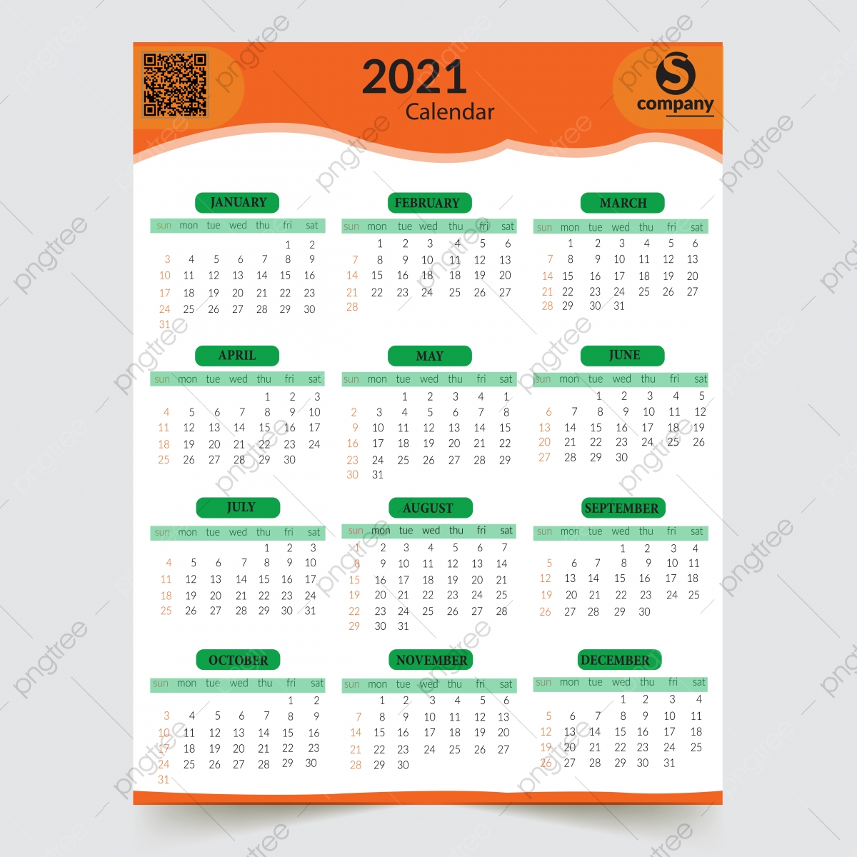 2021 Vector One Page Calendar Design A4 Template Download On Pngtree