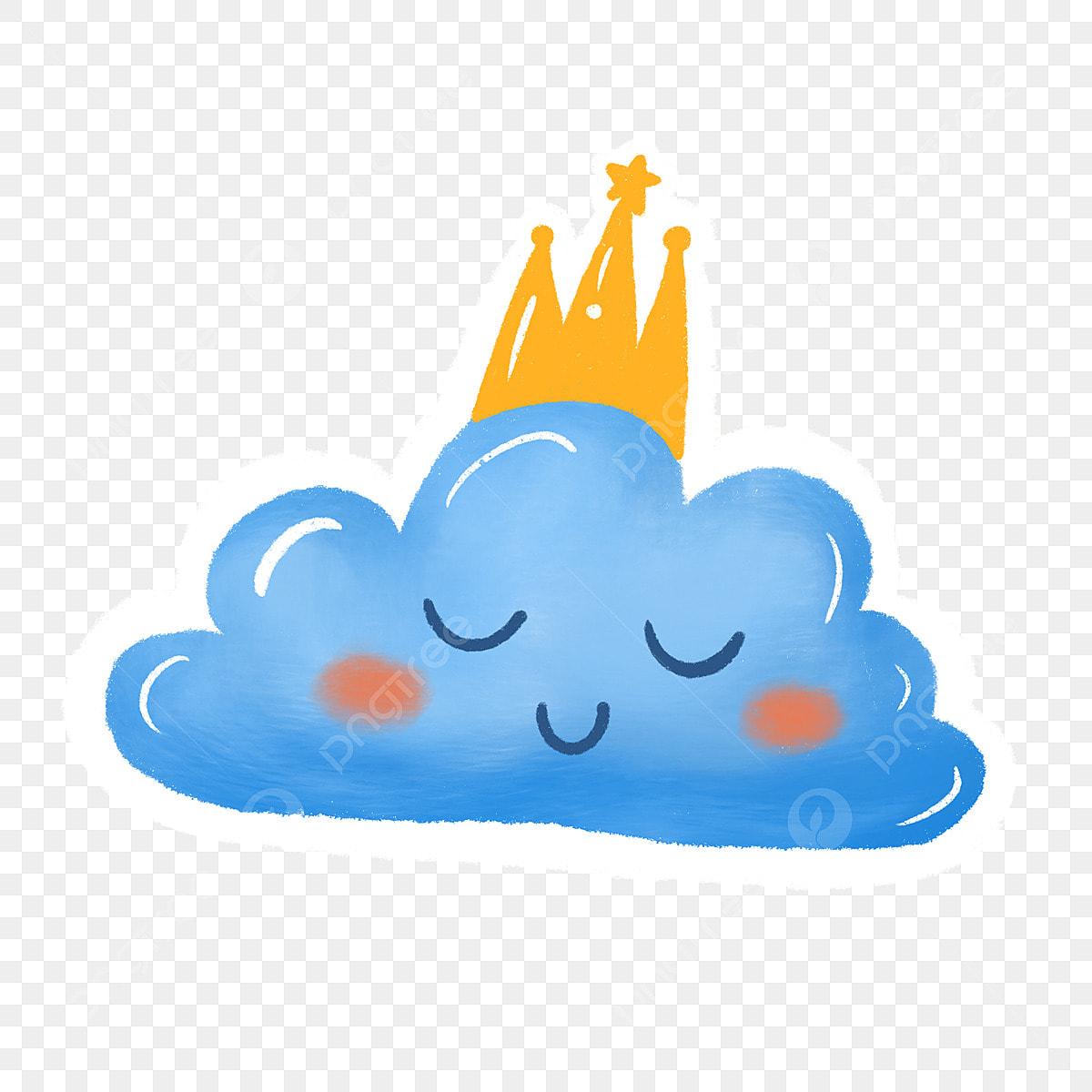 Blue Cute Clouds Children Stickers, Blue, Clouds, Crown PNG ...