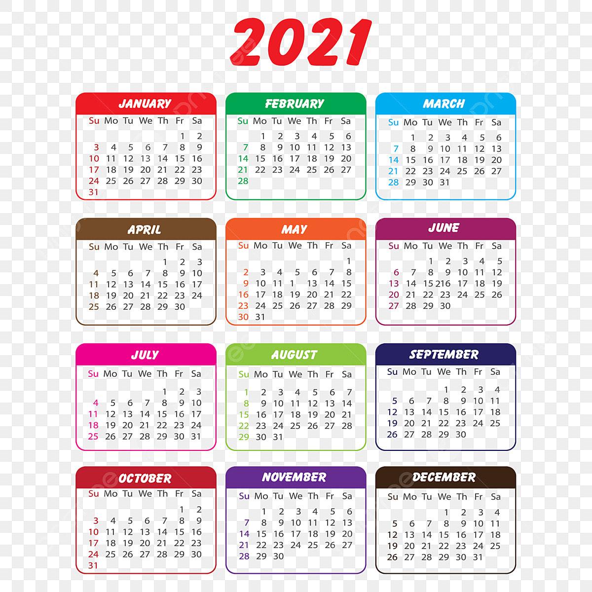 Gambar Kalender 2021 Dalam Berbagai Warna, Kalender 2021 ...