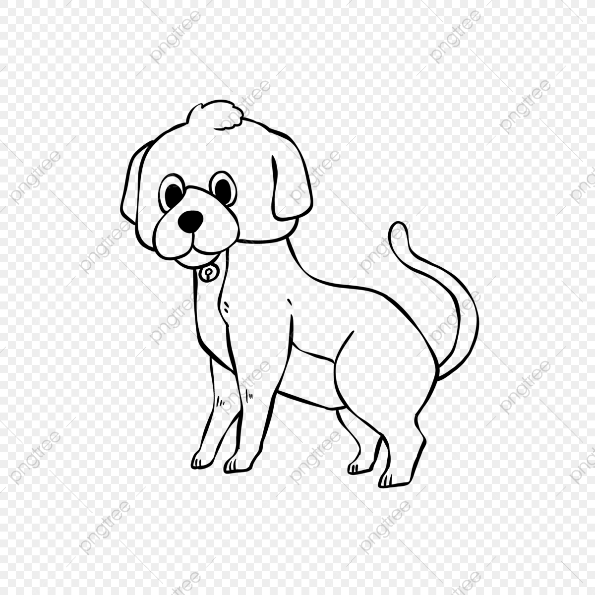 Cute Puppy Lineart Dog Clipart Black And White Puppy Hand Painted Cartoon Png Transparent Clipart Image And Psd File For Free Download