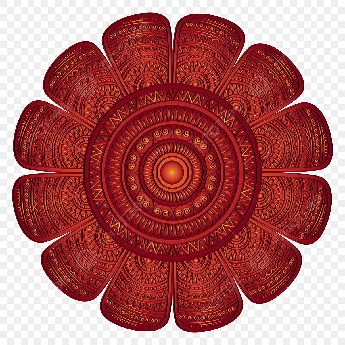 dekorative terrakotta wiederholte mandala design mit retro