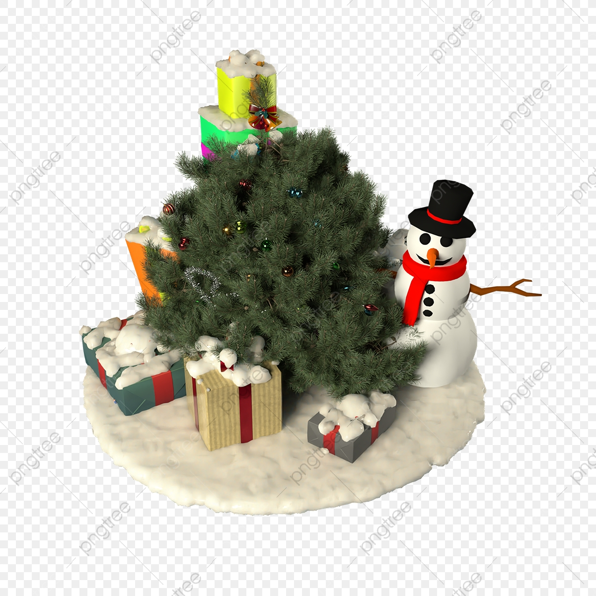 Gift Box And Little Snowman Under The Small Christmas Tree Christmas Tree Christmas Snow Png Transparent Clipart Image And Psd File For Free Download