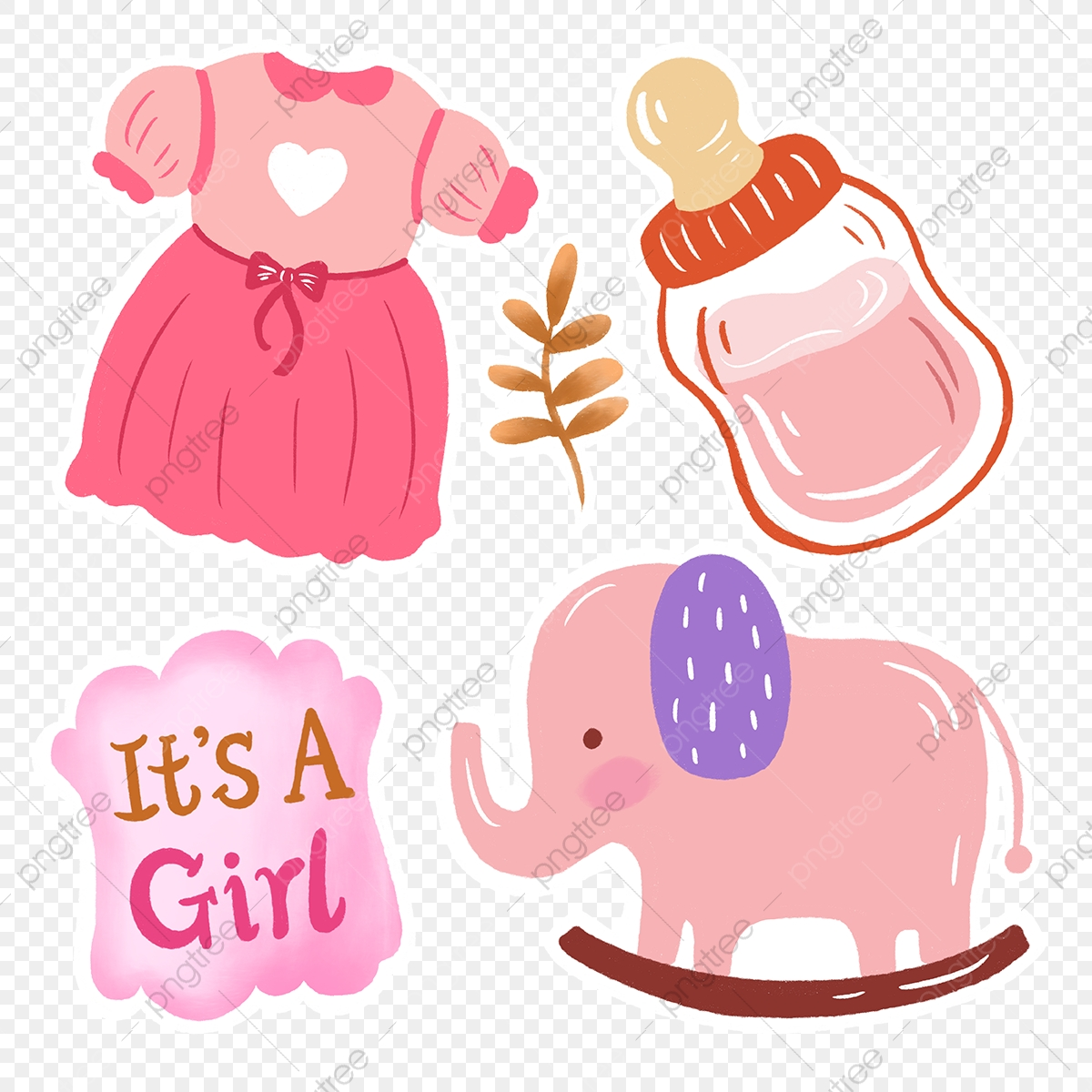 Pink Cute Baby Stickers Baby Sticker Dress Png Transparent Clipart Image And Psd File For Free Download