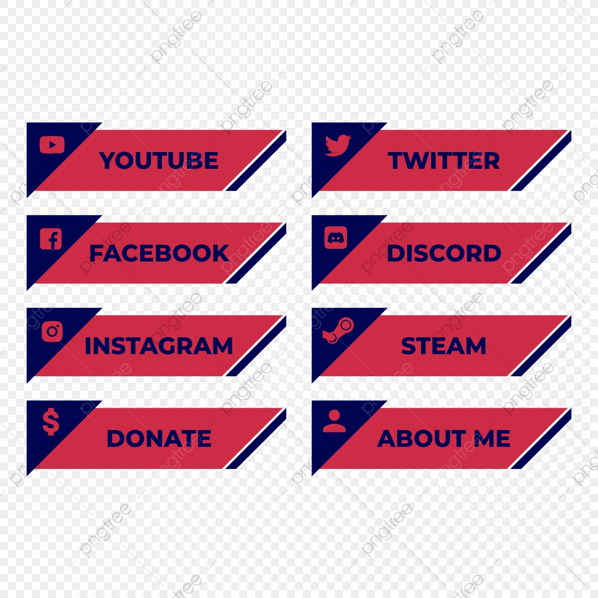 100 Twitch Panels and Icons for Streaming Twitch Panel Package Soft Pale PNG Twitch Panels Set Bundle