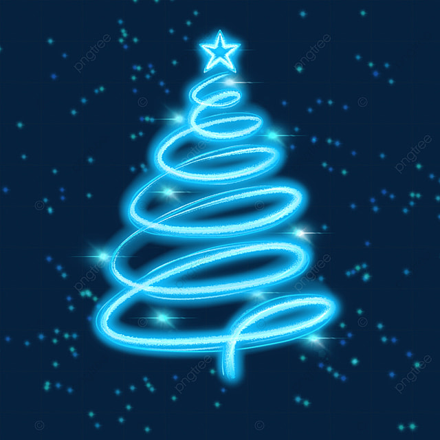 blue glowing light effect christmas tree