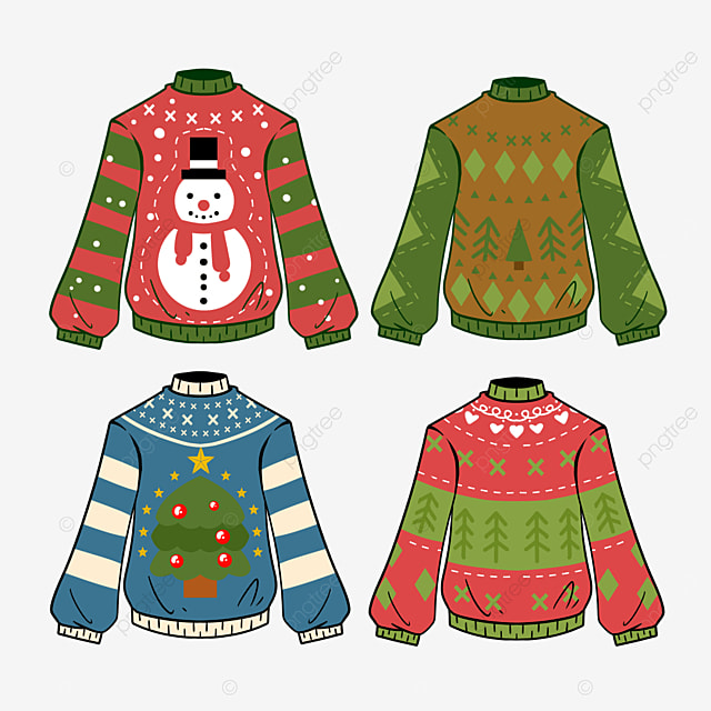 cartoon style ugly christmas sweater