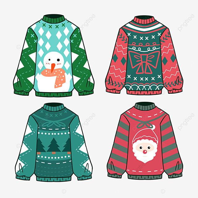color cartoon style christmas sweater