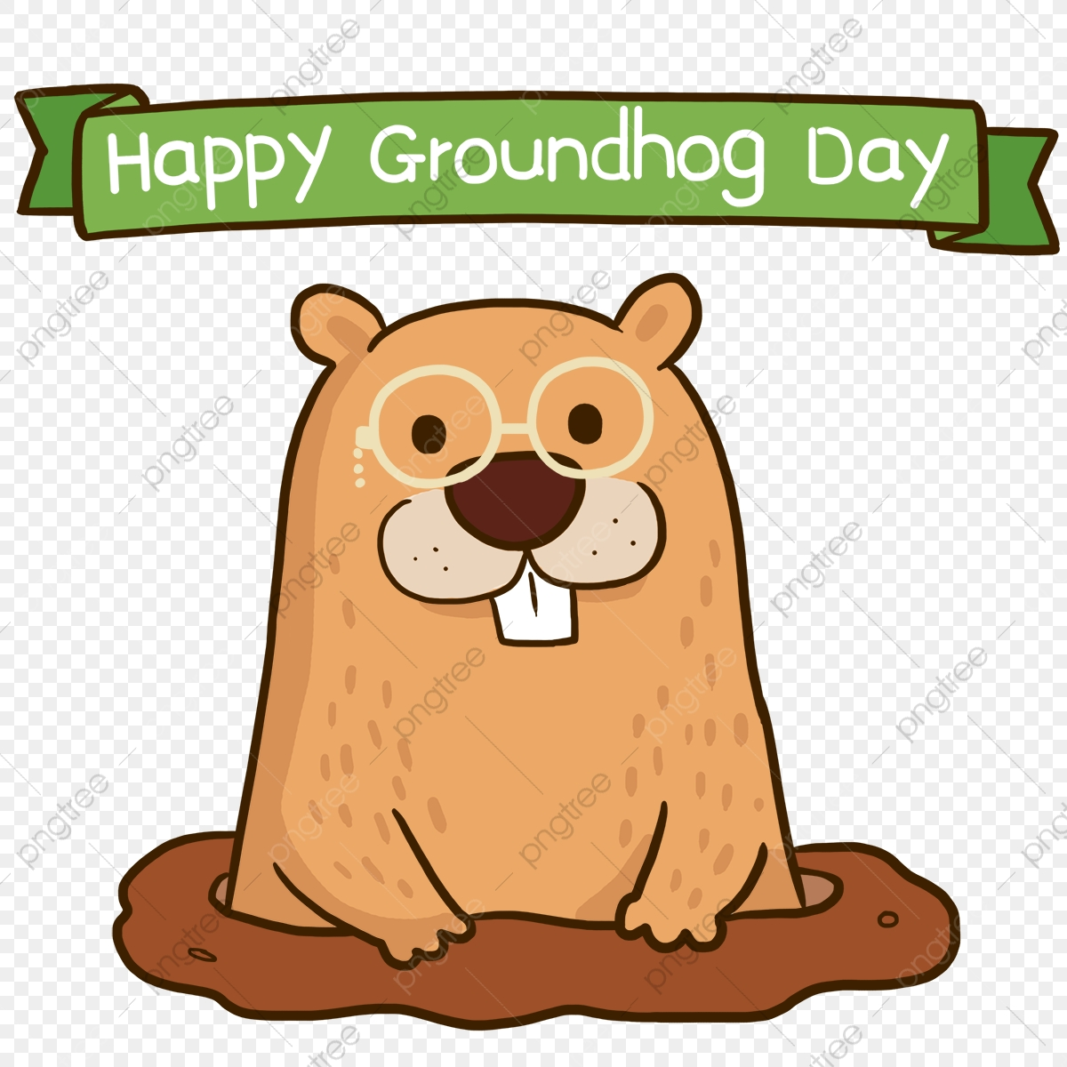 Cute Cartoon Happy Groundhog Day Happy Groundhog Day The Cartoon Lovely Png Transparent Clipart Image And Psd File For Free Download