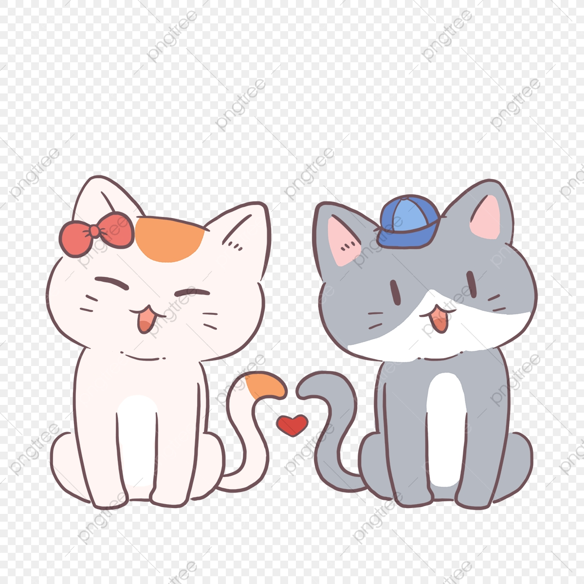 Cute Cat Cartoon Couple Avatar Cartoon Couple Avatar Cat Love Png Transparent Clipart Image And Psd File For Free Download