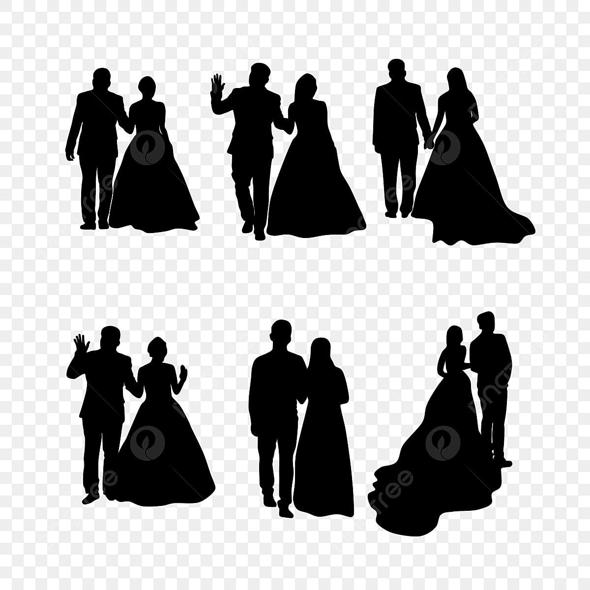 Gambar Gaun Pengantin Menyukai Siluet Orang Clipart Pernikahan Hitam Dan Putih Pernikahan Latar Belakang Karakter Png Transparan Clipart Dan File Psd Untuk Unduh Gratis