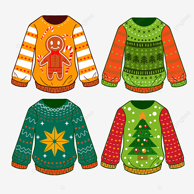 colorful cartoon style ugly sweater