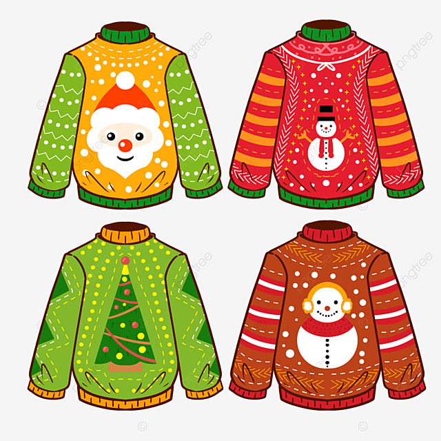 cute christmas sweater in cartoon style