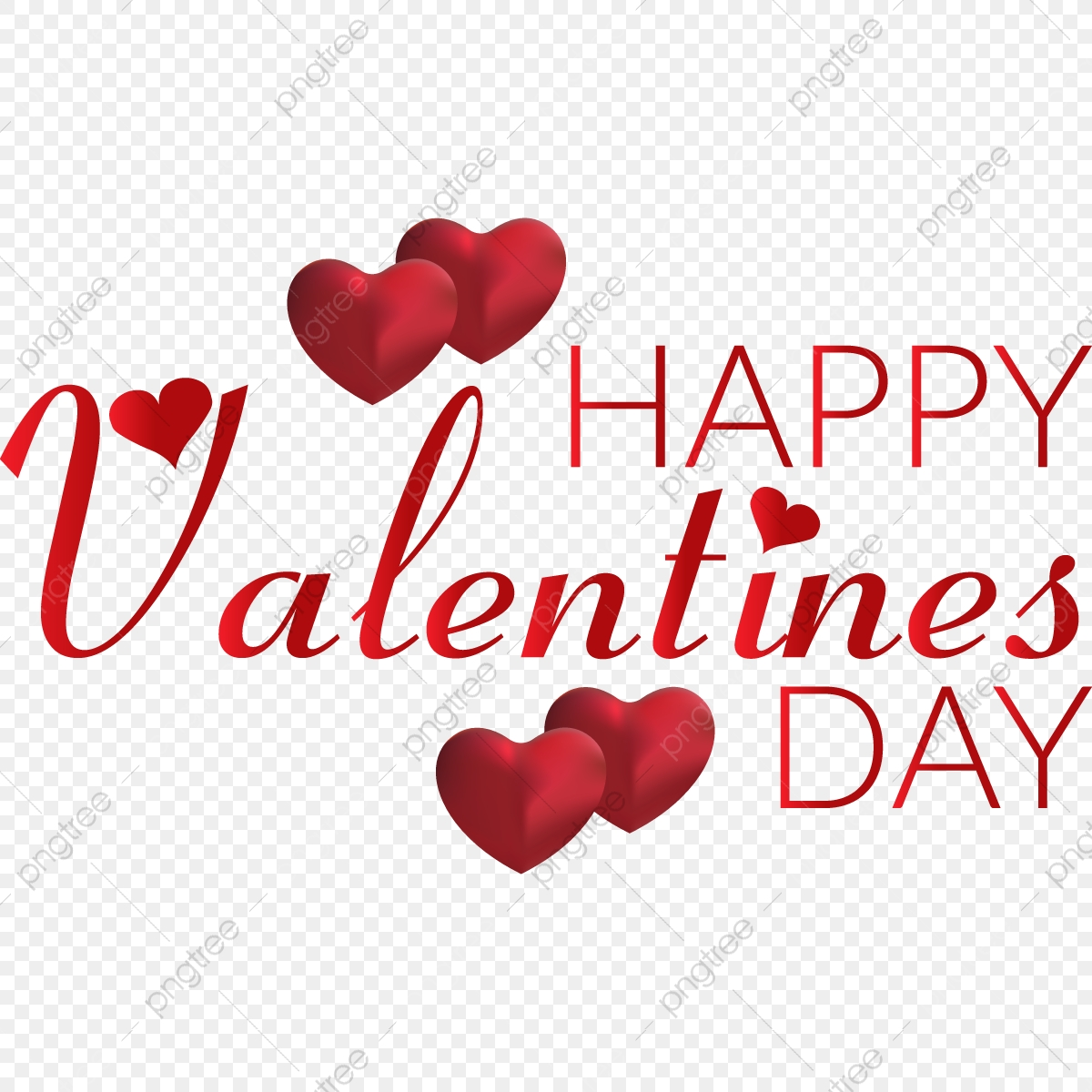 Happy Valentine Day Typography With Hearts Vector Valentine Fancy Valentines Png And Vector With Transparent Background For Free Download