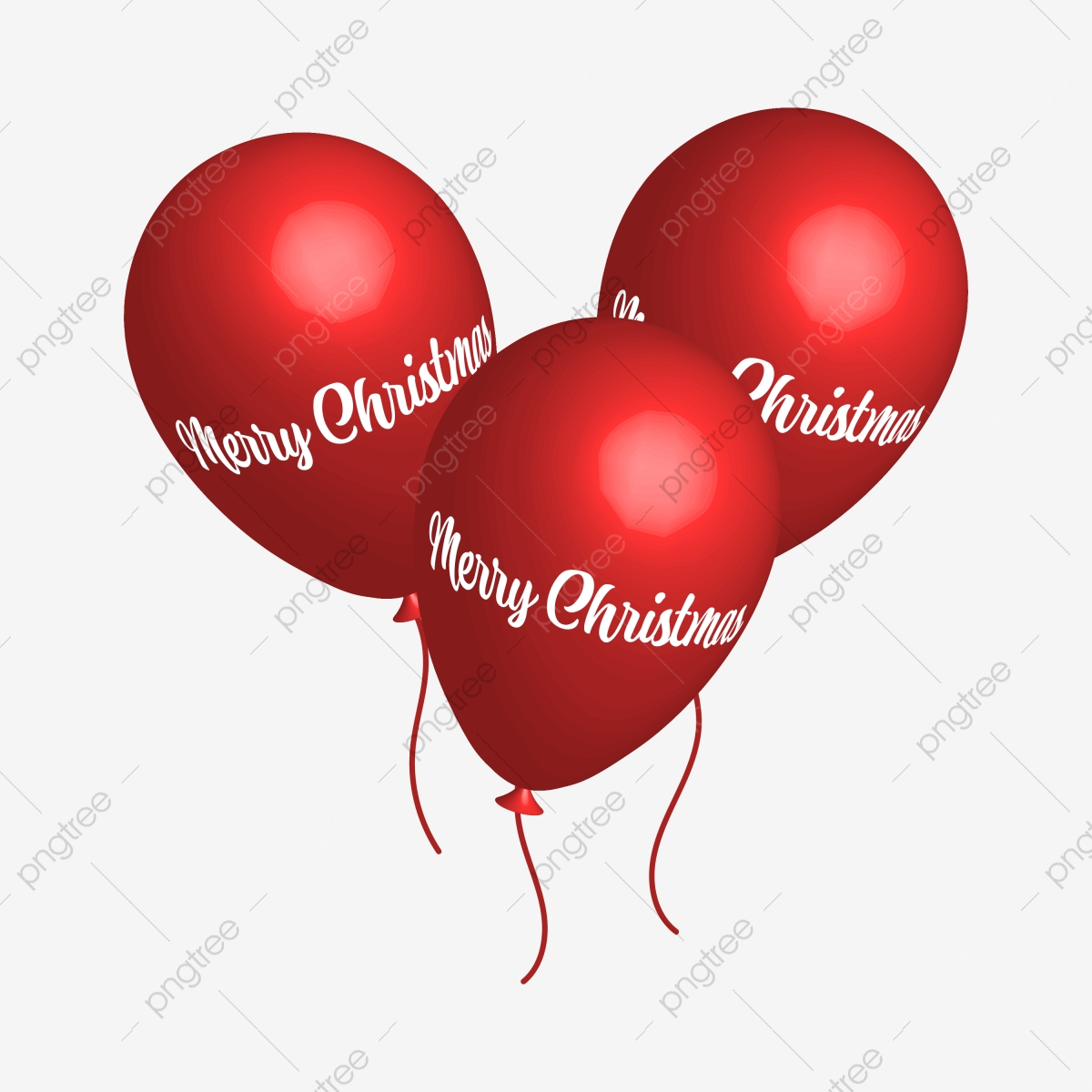 Traditional Red Christmas Balloons With Merry Text Present Happiness Walking Png And Vector With Transparent Background For Free Download