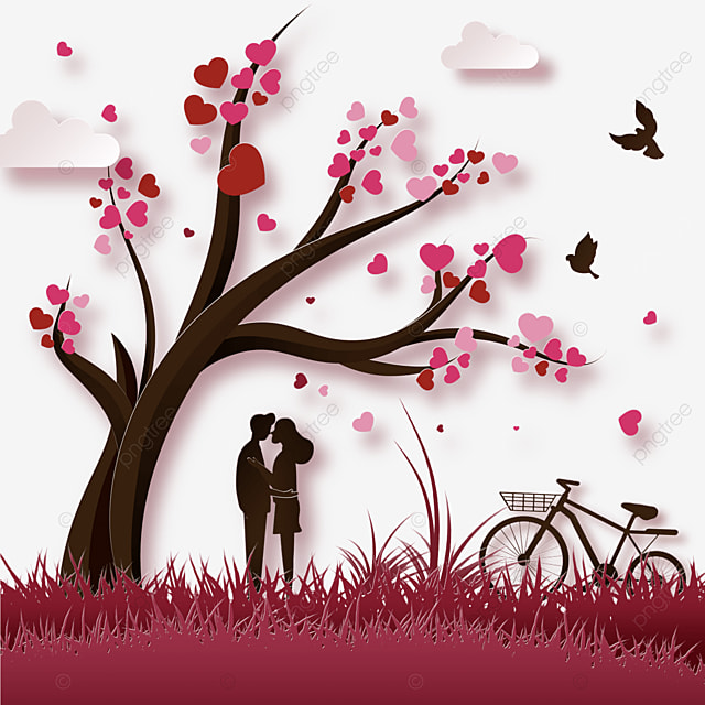 couple kiss under the tree