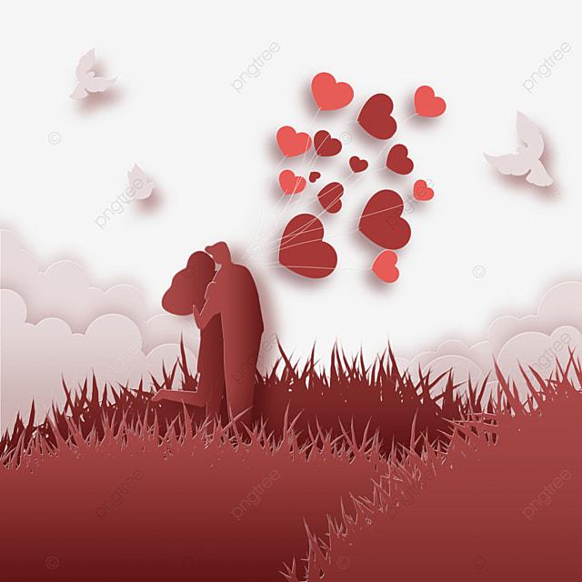 couple paper cut love balloons
