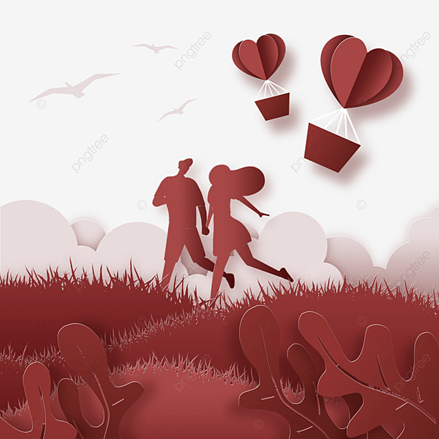 couple red paper cut