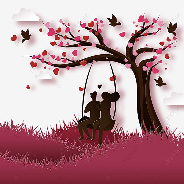 couple swinging under the tree