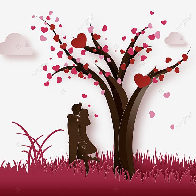 couple under the valentine love tree