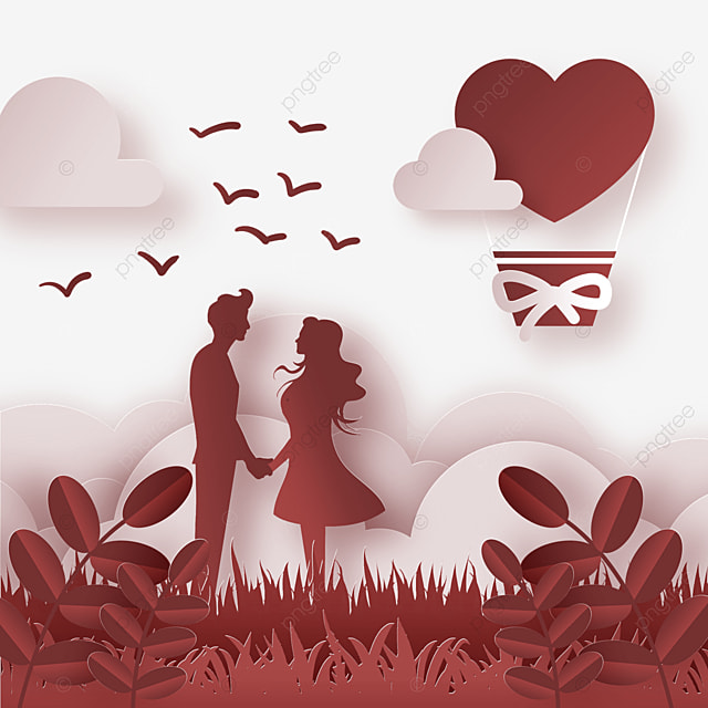 red romantic meadow couple