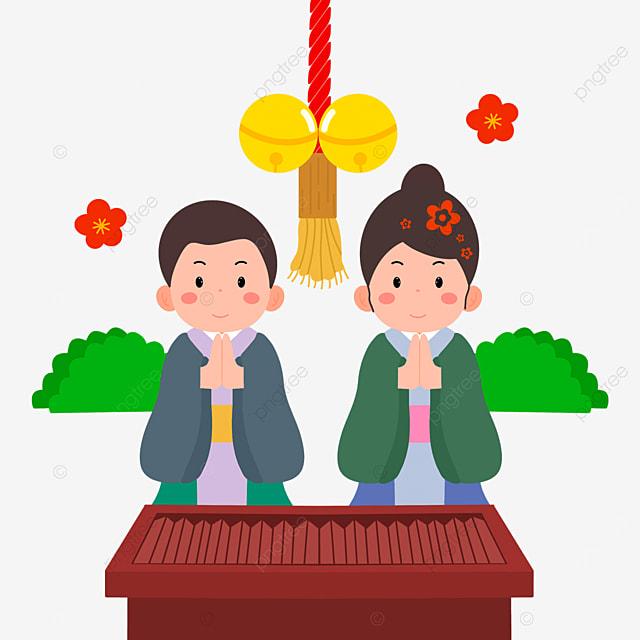 cartoon style gassho oshogatsu japanese new year prayer hatsumode characters