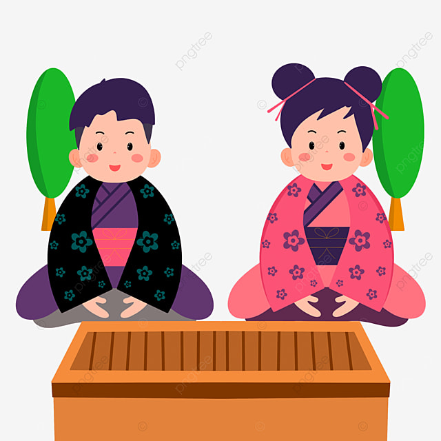 cute cartoon character oshogatsu japanese new year prayer hatsumode