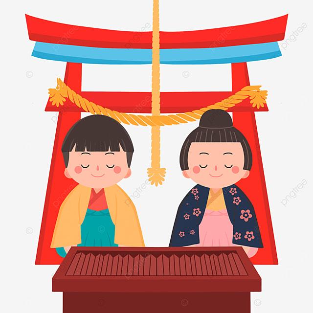 flat wind cute oshogatsu japanese new year prayer hatsumode characters