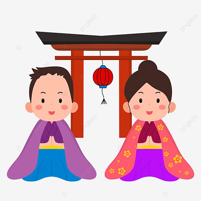 japanese new year prayer hatsumode gassho style flat wind oshogatsu characters