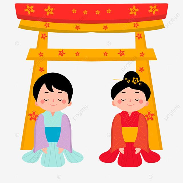 oshogatsu japanese new year prayer hatsumode cartoon character