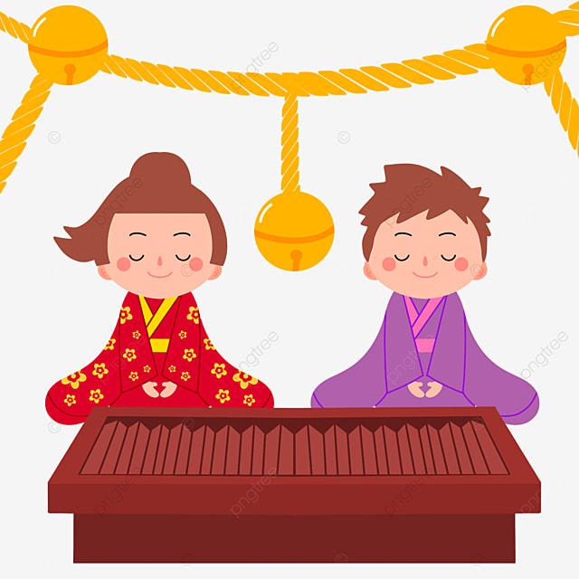 oshogatsu japanese new year prayer hatsumode closed eyes cartoon character