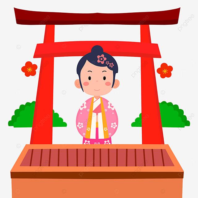 oshogatsu japanese new year prayer hatsumode cute little girl