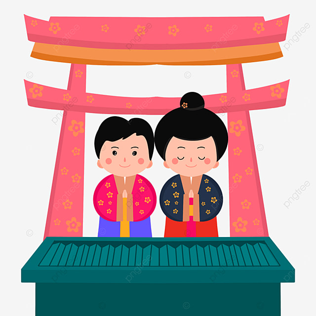 pink print torii oshogatsu japanese new year prayer hatsumode cute characters