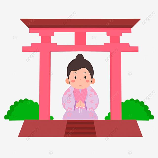 pink torii oshogatsu japanese new year prayer hatsumode cartoon character
