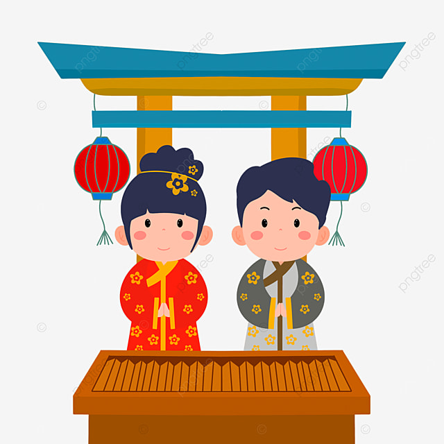 red lantern torii oshogatsu japanese new year prayer hatsumode cartoon character