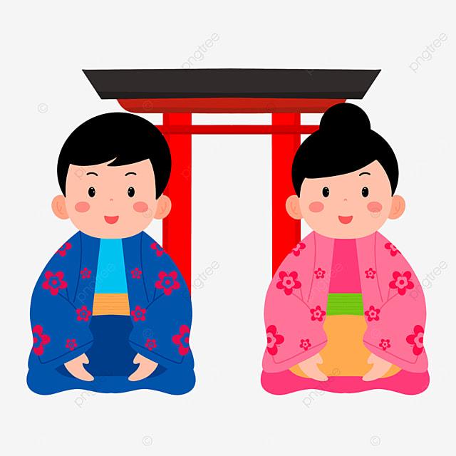 red torii oshogatsu japanese new year prayer hatsumode cartoon character