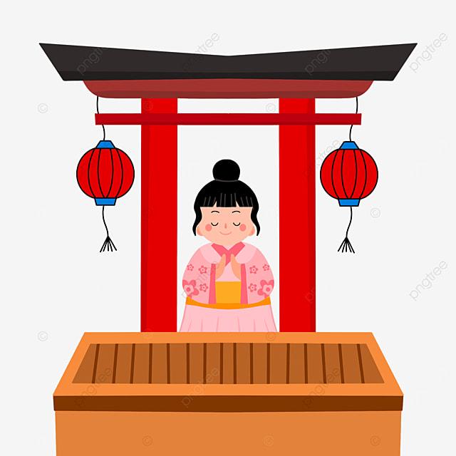 torii closed eyes oshogatsu japanese new year prayer hatsumode cartoon little girl
