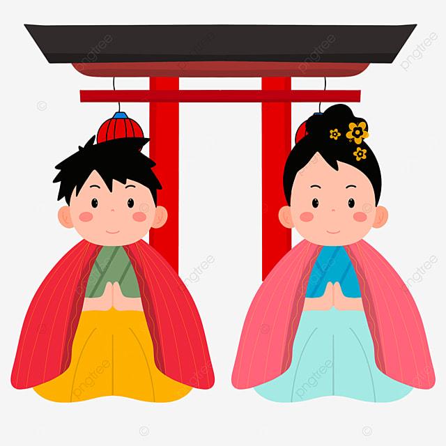 torii oshogatsu japanese new year prayer hatsumode cartoon character